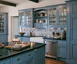 Contemporary Blue Painted Kitchen Cabinets O In Innovation Design