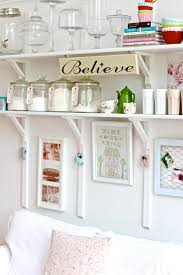 painted white color diy wood wall mounted folding kitchen shelving units for rustic kitchen design with vintage furniture ideas
