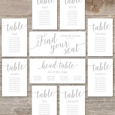 Printable Seating Plans For Wedding Silver Seating Chart Cards Editable Seating Plan Instant Download Silver Wedding Decor