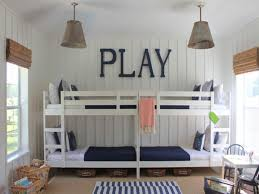 ... Charming Space Saving Shared Bedroom Decoration With Various Ikea White  Bunk Bed : Enchanting Shared Nautical ...