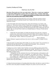 into the wild q`s and activities doc expository reading and writing final essay into the wild