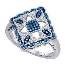 Blue and White Diamond Ring Quilt Pattern 10k White Gold | eBay & Blue and White Diamond Ring Quilt Pattern 10k White Gold Adamdwight.com