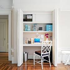 Office closet design Office Transformation Convert The Closet Into Your Desk Areathis Will Allow You To Utilize The Room As Both An Office And Guest Room Or Even An Extra Area For The Kiddies To Camtenna 22 Creative Home Offices Home Office Design Pinterest Closet