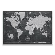 World Travel Map Pin Board W Push Pins Modern Slate