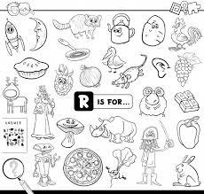 Rは教育用ゲーム塗り絵用です ベクター画像 プレミアムダウンロード