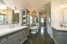traditional master bathroom. Traditional Master Bathroom With Freestanding Bathtub, Pendant Light, Undermount Sink, Inset Cabinets,