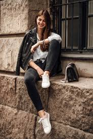 woman s outfit idea leather jacket and white shirt casual chic outfit