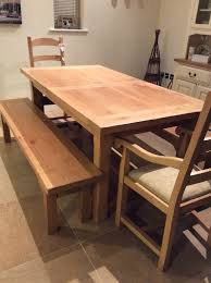john lewis solid oak bergerac table with two armed chairs and two benches immaculate condition