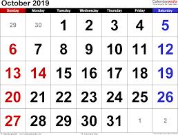2019 October Calendar October 2019 Calendars For Word Excel Pdf