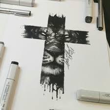 эскиз тигра для тату на кресте
