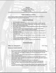 maintenance technician resume occupationalexamples samples free maintenance resume samples