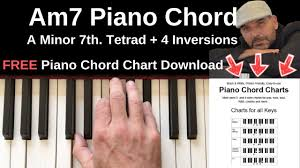 Am7 Piano Chord Chart Am7 Piano Chord A Minor 7th Inversions Tutorial Free Chord Chart