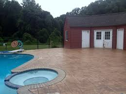 stamped concrete pool deck in Delaware County