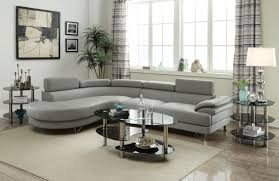 faux leather sectional. Poundex F6984 Faux Leather Sectional Sofa With Chaise | LIGHT GRAY W