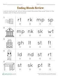 Consonant blends exercises, beginning consonants, digraphs and trigraphs, ending consonants. Ending Blends Review Worksheet Education Com