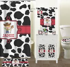 Cowprint W Cowboy Shower Curtain Personalized Potty Training Cowhide Print Shower Curtain