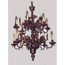 chandelier with decorations of acanthus leaves and cherubs