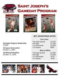 Kevin Hacks Portfolio Sju Gameday Program Ad Rate Template