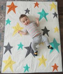 Modern Stars Unisex Baby Quilt and Playmat by LordandLittle ... & Modern Stars Unisex Baby Quilt and Playmat by LordandLittle, $225.00 Adamdwight.com