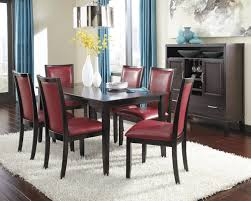 Ashley Furniture Kitchen Table 7 Piece Rectangular Dining Table Set With Red Chairs By Ashley