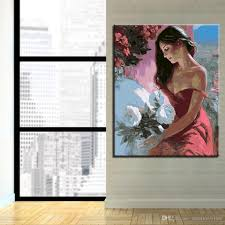 2018 by numbers digital diy frame poster painting woman white flower wall photo art decor on canvas coloring oil paint unique picture from solutionwinni