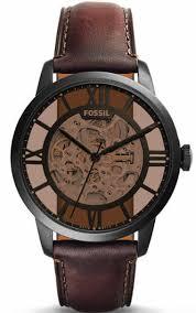 men s fossil townsman brown automatic skeleton watch me3098