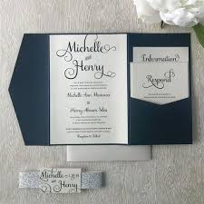 Wedding Invitation Folder Navy And Silver Glitter Wedding Invitation Pocketfold Wedding Suite Belly Band Invite Classic Wedding Invite Blue And Gray Wedding