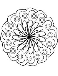 Disegno Di Mandala Con Decorazione Di Fiori Semplici Da Colorare