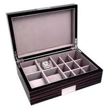 men s black metro leather jewelry valet and accessories box high gloss lacquered 4 watch 12 cufflink box ebony burl finish