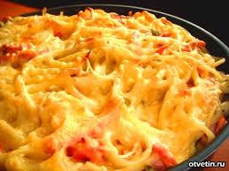 макаронная запеканка с ветчиной и сыром