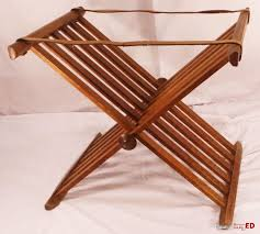 unusual fancy antique wood folding luggage rack stand with leather straps
