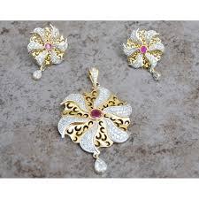ruby gold diamond pendant set