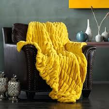 Mustard Yellow Throw Blanket Beauteous Mustard Yellow Throw Blanket Chic Home Faux Fur Throw Blanket