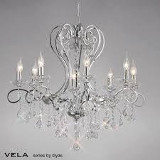 vela pendant 8 light polished chrome crystal