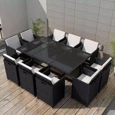vidaxl 31 pcs patio wicker rattan garden furniture set chairs glass dining table