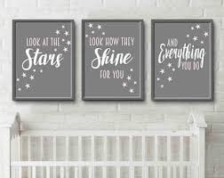 baby nursery wall art decor pink and grey bedroom art prints look at the stars look how they shine for you on stars nursery wall art with navy cream misty bedroom wall art decor art prints look at the