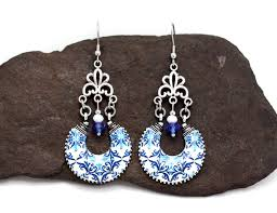 blue portuguese chandelier tile earrings antique vintage jewelry stainless steel wire gift