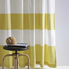 66 yellow and white striped shower curtain gray