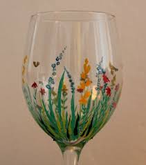 Wine Glass Decorating Designs painting on glass Field of Flowers Hand Painted Wine Glass 81
