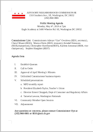 Business Agenda May 6 Anc 8e Monthly Meeting Agenda Congress Heights On