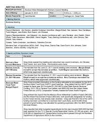 Agenda Format Sample Example Of Any Minutes A Meeting Taken During Examples
