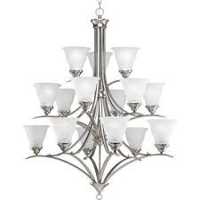 progress lighting trinity brushed nickel chandelier w 15 light 75w