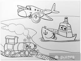 Poster Vliegtuig Schip Trein Cartoon Kleurplaat Pixers We Leven