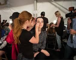 avon global celebrity makeup artist lauren andersen backse at the nicholas k spring 2016 runway celebrity makeupmakeup artistsnew york