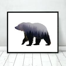 bear wall decor bear art print fine art paper wall hanging animal forest poster living room