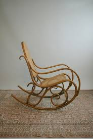 iconic gebruder thonet bentwood beech rocker walnut finish woven cane seat back essential home decor lovely patina