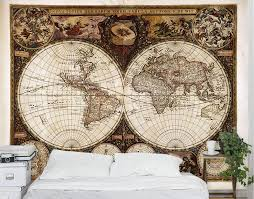 vintage world map wall mural