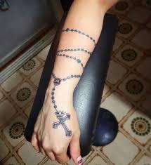 Cafa6442 Rosary Beads And Cross Tattoo