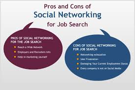 networking for a job pros and cons of social networking for job search jobcluster com blog
