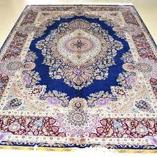 persian rug feet blue colour silk handmade hand knotted carpet for living room large rugs